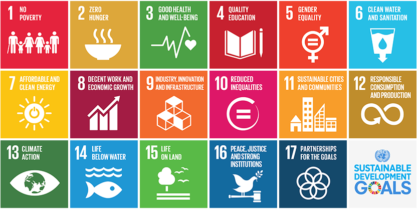 Summary of the 17 Sustainable Development Goals: 1. No Poverty; 2. Zero Hunger; 3. good health and well being; 4. quality education; 5. gender equality; 6. clean water and sanitation; 7. affordable and clean energy; 8. decent work and economic growth; 9. industry, innovation, and infrastructure.; 10 reduced inequalities; 11. sustainable cities and communities; 12. responsible consumption and production; 13. climate action; 14 life below water;. 15. life on land; 16. peace, justice, and strong institutions; 17. partnerships for the goals.